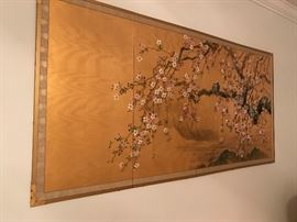 Handpainted folding screen , four panels, gilt and cherry blossoms.