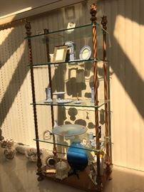 Glass shelf etagere, Wedgwood and Lenox.