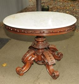 FANCY VICTORIAN MARBLE TOP OCCASIONAL TABLE