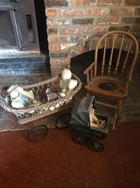 Antique Child Buggies & Wood Potty Chair