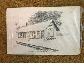 Vintage Drawing Elmore, Ohio Depot