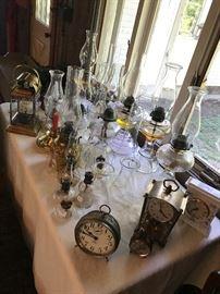 Vintage Oil Lamps~Vintage Clocks