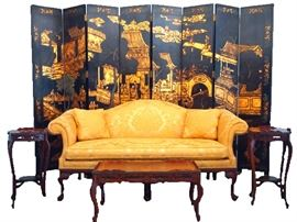 Pennsylvania House Sofa, Eight Panel Chinese Lacquer Screen, Inlaid Tables