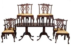 Mahogany Two Pedestal Dining Table with Leaf, Eight Mahogany Dining Room Chairs