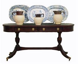 Mahogany Console Table, English Pottery