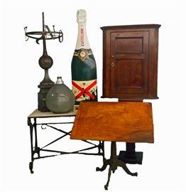 Iron Base Drafting Table, Zinc Weathervane Finial, Iron Base Table, Oak Corner Cupboard