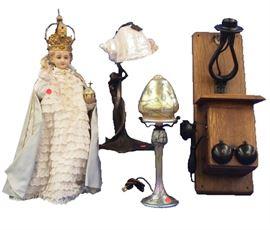 Infant of Prague Figure,  Bronze Lamp, Oak Wall Phone, Art Glass Lamp by Carl Radke