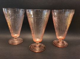 Depression  Glass, 3 footed tea tumblers in pink Mayfair Rose