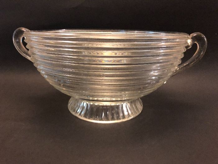 Vintage art deco 'Manhattan' glass footed and handle bowl