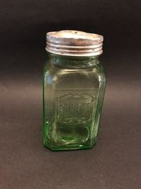 Vintage green glass pepper shaker