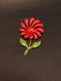 Vintage enamel flower brooch