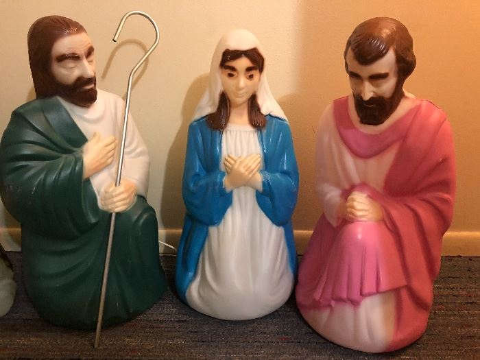 Vintage mold blown Christmas nativity yard ornaments by Empire
