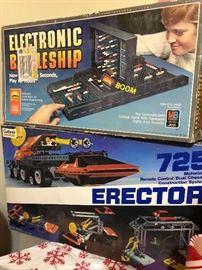 Vintage Elextronic Battleship game and Vintagr Erector set