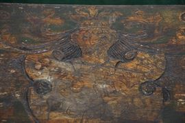 Folk art bench depicting family crest for F. Usher De Voll