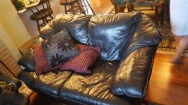 Black Leather Love Seat