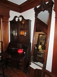Secretary & Victorian Hall Mirror