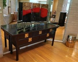 Century Furniture Altar style table and glass panel art