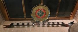 Florentine tray and iron candle holder