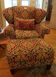 Key City Furniture wingback chair and ottoman