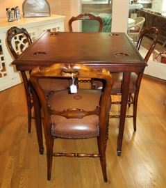 Theodore Alexander leather top game table and four chairs