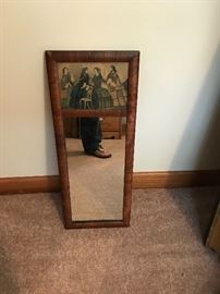 Antique mirror with picture of 4 ladies