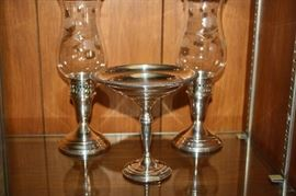 Sterling Silver Candle Holders and Compote