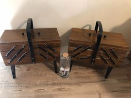 Antique accordion sewing boxes