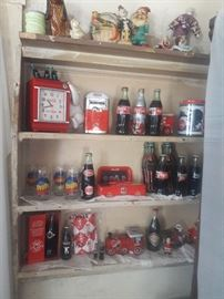 Top shelf antique what-nots $10.00 ea.  Vintage Coca Cola Items priced seperately.
