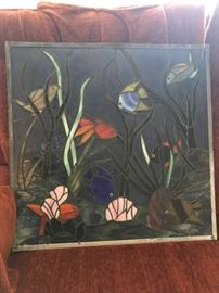 stained glass window with fish