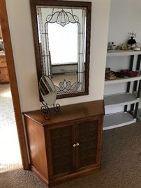Mirror with stained glass effect over a hallway console!