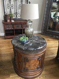 Stunning accent table with marble top and plenty of storage.