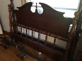 Queen bed (headboard, footboard, and metal frame