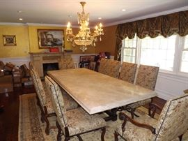 Marble Top Dining Room Table, 10 Chairs, Schonbek Chandelier