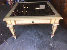 Mirror and Wood Square Coffee Table Eggshell with Gold Trim BD8101  https://www.ebay.com/itm/123361851500