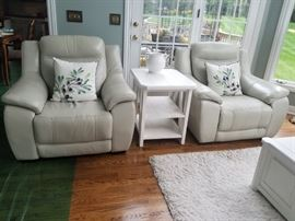 Pottery Barn white leather recliners