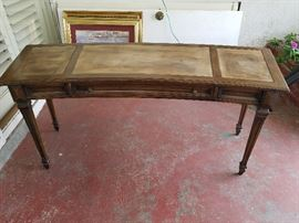 """Solid wood desk 67""""x23""""x30"""".  1 drawer. We striped the old leather off. Ready for new leather or stain & glass."""