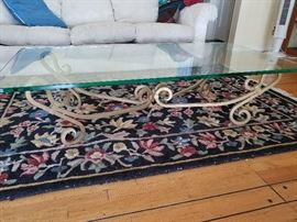 """Coffee table, cast iron base. 60""""x30""""x151/2"""". Glass is 3/4"""" thick"""