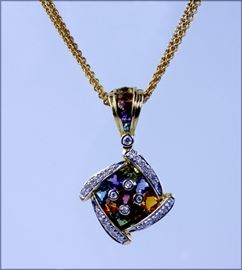 "Bellarri 18k yellow gold pendant with 17"" triple gold chain, faceted multi-gemstones with diamond accents, 17 grams total, auction lot 3"
