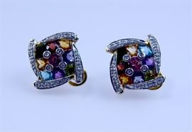Bellarri 18k yellow gold earrings, faceted multi-gemstones and diamond accents, auction lot 1