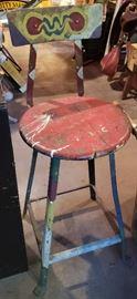 Funky vintage metal stool