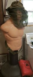 Vintage Sparring Mannequin (military mosquito net head gear separate)