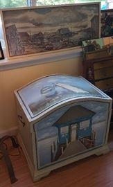 Nautical motif wood toy/storage box, fishing village scene print framed