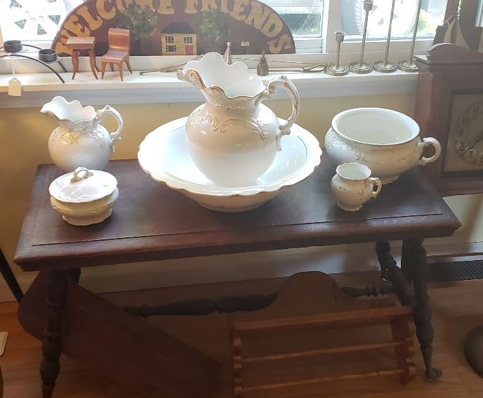 Vintage Wash Basin set - Vintage tiger oak table with glass ball/claw feet