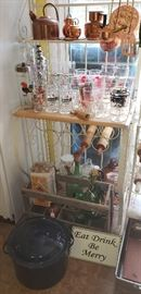 Vintage beer mugs, glasses, cocktail shakers, wine coolers, crate