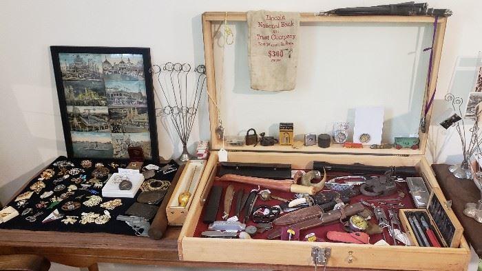 Rhinestone brooches, knives, padlocks, compasses, misc.