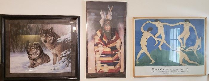 Framed prints, Wolves, Native American, Matisse Dance print (as seen in the movie Good Will Hunting)