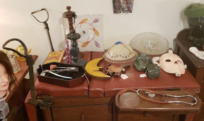 Vintage gynecologist exam table, medical instruments, misc.