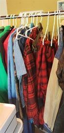 Vintage clothing, red/black wool hunting coats and pants, U of M denim jacket, etc.