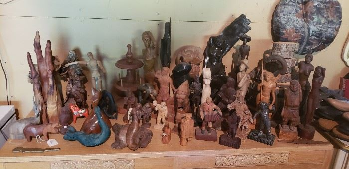 Large collection of Wood Figurines