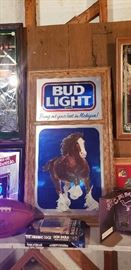 Collection of beer mirrors and signs